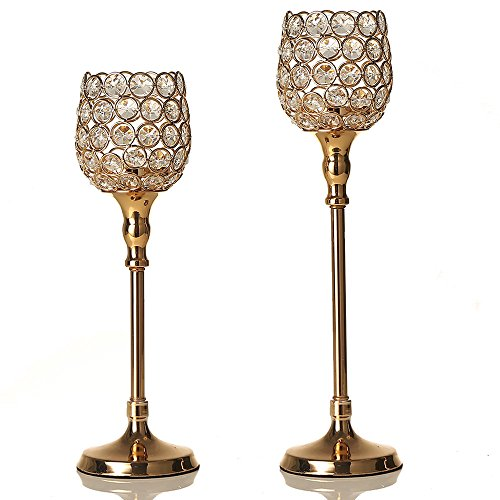 VINCIGANT Gold Crystal Tealight Pillar Candle Holders Set for Mothers Day Home Decoration House Gifts,12.6 & 14.6 Inches Tall La Mesa Vase