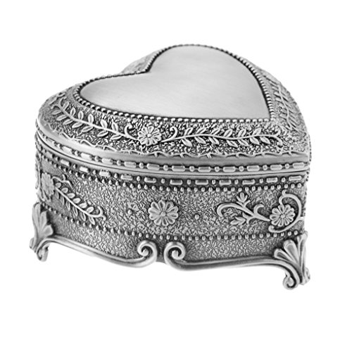 - Vintage Antique Silver Chest Box Heart Shape Tin Engraved Jewelry Box Classic Retro Storage Organizer (Heart Silver)