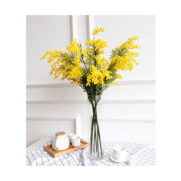 HOBULL 4pcs Mimosa Artificial Silk Flowers Fake Plants Branches Spray Acacia Bouquet Home Wedding Fall Decoration