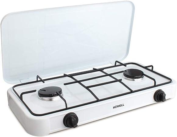 hornillo de Gas 2 Fuegos con Tapa y Encendido Manual Plano cocción para Cocina y Camping De Metal Blanco Howell
