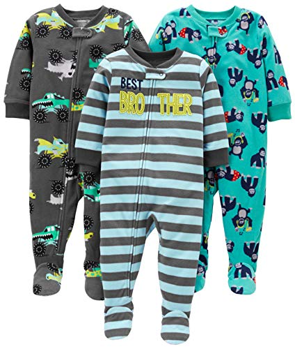 Simple Joys by Carter's Boys' 3-Pack Loose Fit Flame Resistant Fleece Footed Pajamas, Brother/Trucks/Gorillas, 18 Months