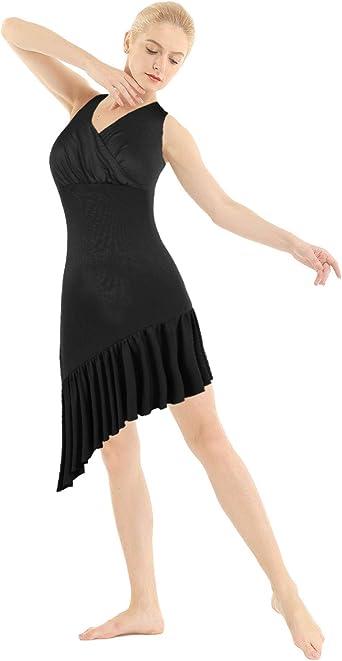 TiaoBug Vestido de Ballet Mujer Cuello en V Falda Plisada para ...