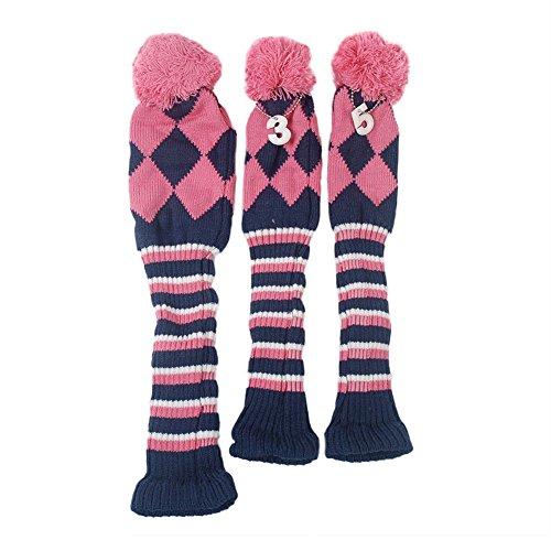 HIFROM(TM 3pcs/Set Golf Club Argyle Knit Head Covers Headcovers Vintange Pom Pom Sock Covers 1-3-5 for Driver & Woods Pink & Dark Blue & White ()