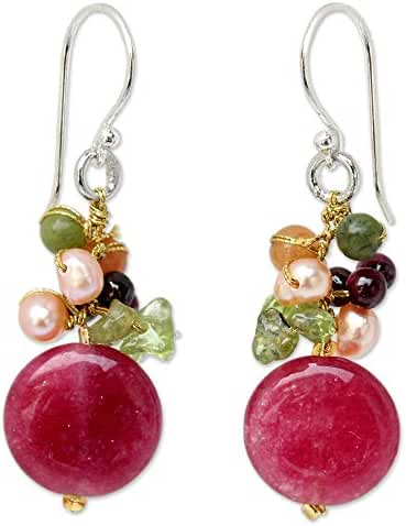 NOVICA Multi-gem Dyed Cultured Freshwater Pearl Sterling Silver Cluster Earrings, 'Thai Joy'
