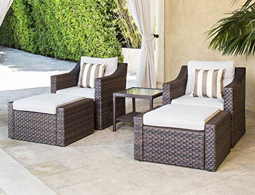 - SOLAURA Sofa Sets 5-Piece Outdoor Furniture Set Brown Wicker Lounge Chair & Ottoman with Neutral Beige Cushions & Glass Coffee Side Table
