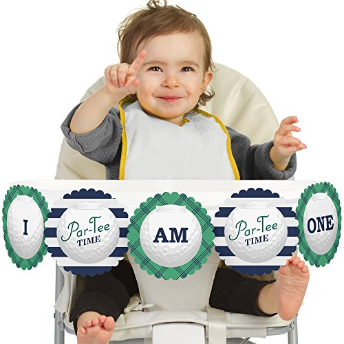 Big Dot of Happiness Par-Tee Time - Golf 1st Birthday - I Am One - First Birthday High Chair Banner ()