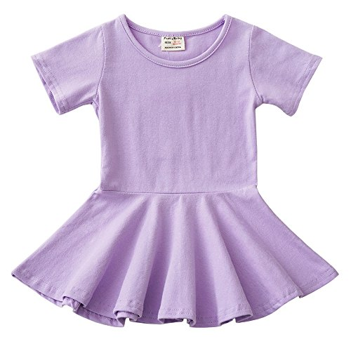 Infant Toddler Baby Girls Dress Cozy Ruffles Long Sleeves Cotton (9-12m(80), Purple 1)