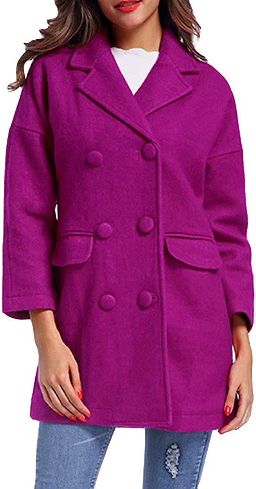 Gate2Light Womens Notched Lapel Pea Coats Long Sleeve Double Breasted Outwear Overcoat