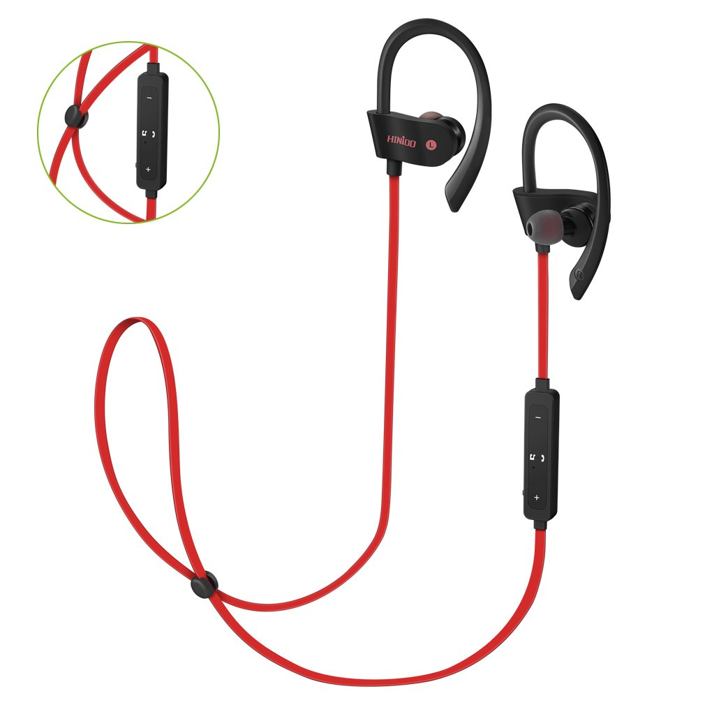 HINIDD auriculares Bluetooth bajos ricos auriculares en oreja rojo auriculares de estudio inalámbricos con tapones para los oídos y el micrófono para ...