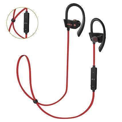 HINIDD auriculares Bluetooth bajos ricos auriculares en oreja rojo auriculares de estudio inalámbricos con tapones para