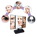 TVictory-3rd-Gen-Tri-Fold-Lighted-Mirror-with-24-LEDs-Lights-for-Makeup-Vanity-Cosmetic-Touch-Screen-and-3X2X1X-Magnification-180-Degree-Free-Rotation-2-Power-Supply-Options-Black