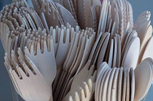 3 Sterling Salad Forks - 300 Pieces Disposable Wooden Cutlery Set by Easy Life Creations with 100 Forks 100 Knifes 100 Spoons | 100% Eco-Friendly Disposable Silverware, Birch Wood, Biodegradable, Compostable Utensils | EBOOK