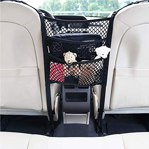 (MAXTUF Car Mesh Organizer, 3-Layer Backseat Net Kids Pet Barrier Flexible Nylon Storage Bag for Purse, Phone, Water Bottle with 4 Hooks to Fix On (9.8 x 11.8 in) )
