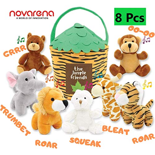 NOVARENA Jungle Friends Talking Plush Animals 1 Year Old up Boy Girl Baby Realistic Sound Stuffed Toys Babies Toddler Children Lion Elephant Giraffe Tiger Bear Monkey Rabbit (8 Pc Deluxe - Set Sound Animal