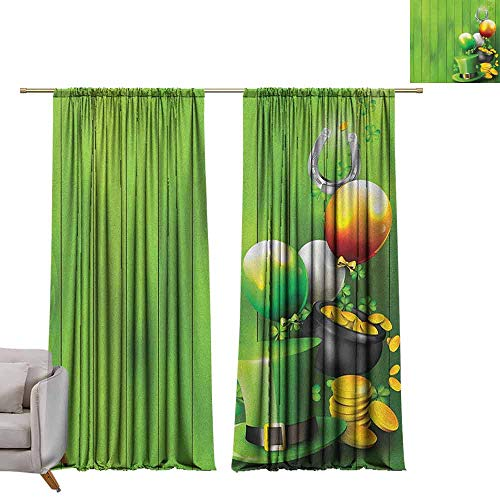 "Tr.G 72"" W x 96"" L Customized Curtains Wide Blackout Curtains Keep Warm Draperies Set of 2 St. Patricks Day,Wood Design with Shamrock Lucky Clovers Pot of Gold Coins and Horse Shoe Fern Green"