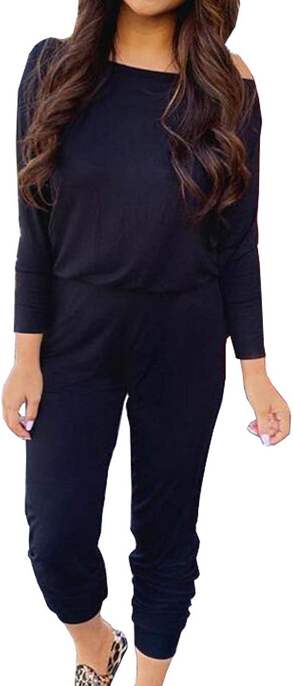 Woweal Herbst Donna Jumpsuits a Maniche Lunghe Senza Spalle Tuta Romper High Waisted Playsuit Pantaloni Lunghi