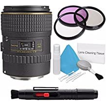 Tokina 100mm f/2.8 at-X M100 AF Pro D Macro Autofocus Lens for Canon EOS (International Model) +Deluxe Cleaning Kit + Lens Cleaning Pen + 55mm 3 Piece Filter Kit