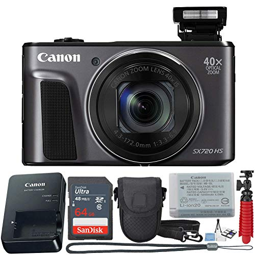 Canon PowerShot SX720 HS 20.3 MP Wi-Fi Digital Camera with 40x Optical Zoom & HD 1080p Video (Black) 11-Piece Value Bundle