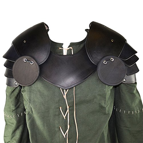 Costumes Larp Cheap (Armor Venue: Knightly Leather Pauldrons Shoulder Armour with Besagews Black One)