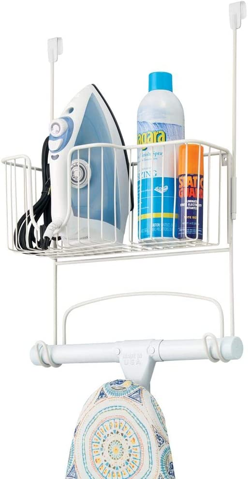 mDesign Metal Over Door Ironing Board Holder with Large Storage Basket - Holds Iron, Board, Spray Bottles, Starch, Fabric Refresher - for Laundry, Utility Room, Garage - White: Home & Kitchen