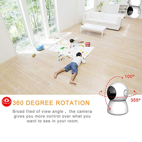 Indoor Home Security Camera 1080P, Wireless WiFi Surveillance Monitor for Office Nanny Pet Baby