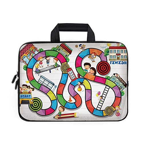 Board Game Laptop Carrying Bag Sleeve,Neoprene Sleeve Case/Game on Notebook Paper Kids and Building School Route Fun Challenge Enjoyment Decorative/for Apple Macbook Air Samsung Google Acer HP DELL Le