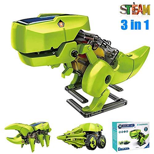 ASPPOPO 3 in 1 Science Kits Kids DIY Solar Robot Kit Dinosaurs STEM Educational Toys for Kids Age 8-12 Gifts