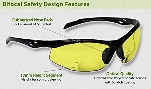 Bifocal Safety Glasses in Polycarbonate Yellow Lens +2.50 - Glass Lenses Polycarbonate Vs