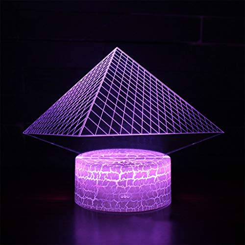 3D Night Lights Led Acrylic Stereo Table Lamp Pyramid Mode Optical Illusion Bedside Table Lights Children