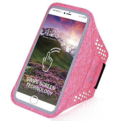 Water Resistant Sports Armband for Cell Phones like Apple iPhone 6, 7, 8 and other Smartphones up to 4.7 inch, Fingerprint ID Access, Key Holder, Swipe Touchscreen Technology, Running Excercise (Pink)