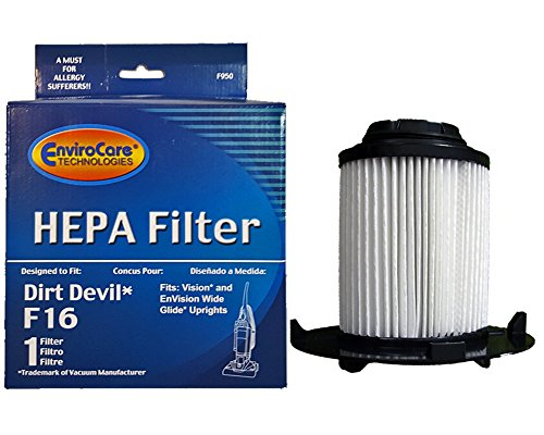 EnviroCare Dirt Devil F16 HEPA Vacuum Filter for Royal Dirt Devil, Vision, Envision wide glide Upright Vacuum Cleaners