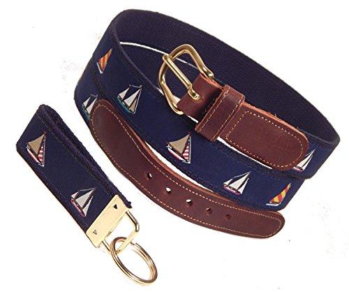 (Preston Leather Four Sailboats Belt, Navy, Sizes 30 to 50, FREE Matching Key Ring (Size 38))