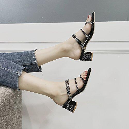 Cuadrado Antideslizantes Zapatos Forman YMFIE los de Punta cómodas Libre de Sandalias Playa pies b del del de talón señoras al Aire Verano Vacaciones Las HwYpRH