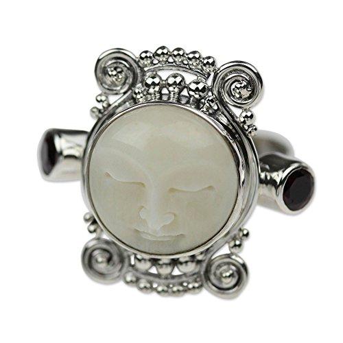 NOVICA Garnet .925 Sterling Silver Carved Bone Ring, Moon Dream