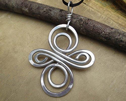 Very Big Aluminum Celtic Knot Swirl Cross Pendant Necklace Handmade in Oregon, USA ()