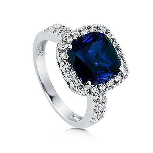 BERRICLE Rhodium Plated Sterling Silver Cushion Cut Cubic Zirconia CZ Halo Ring Size ()