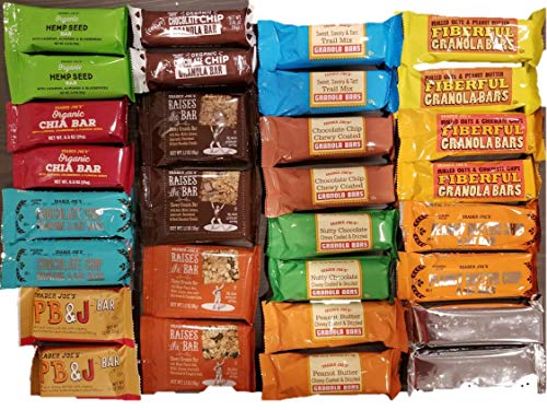 (TRADER JOE'S VARIETY Bars Sweet and Salty Granola Bar Variety Pack - Care Package - Gift Pack - Variety of Fitness, Energy Bars - Protein & Health Granola Bars - 15 Variety Types x 2 each, total 30 Co)