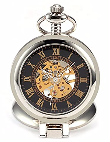 Carrie Hughes Steampunk magnifier Mechanical Skeleton Hand-Wind Pocket watch with chain Gift Box (Mechanical Pocket Watch Engraved)