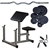 Preacher Curl Package with Curl Bar, 75lbs. Weight Plates