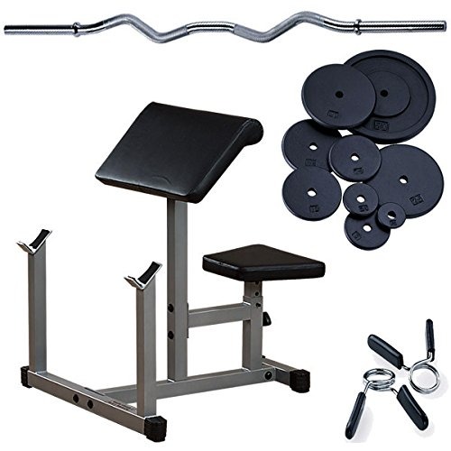 Preacher Curl Package with Curl Bar, 75lbs. Weight Plates by Body-Solid