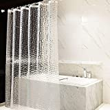 OTraki Shower Curtain 180 x 200cm 7 ft Extra Long PEVA Semitransparent Bathroom Curtain Mould Proof Resistant 200cm Drop 3D Effect Eco Shower Curtain Waterproof with 12 Hooks