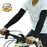 JueDi Sun Sleeves Cool Ice Long Large Arm Sleeves Uv Protection for Youth&Adult Men&Women Outdoor Sports Golf Cycling Driving Gardening Fishing Running SPF50+ 1Pair Black XL