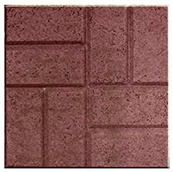 EmscoGroup 2155HD Plastic Deep Red Brick Pattern Resin Patio Pavers