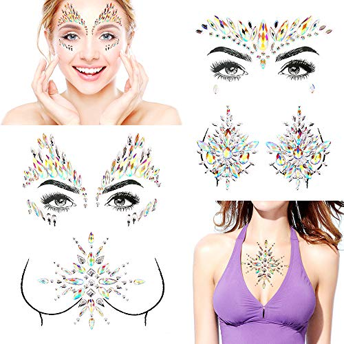 - Bling Rave Festival Rhinestone Face Body Jewelry Stick On Crystal Tattoo Nipple Crystal Body Gem Stones Bindi Stickers