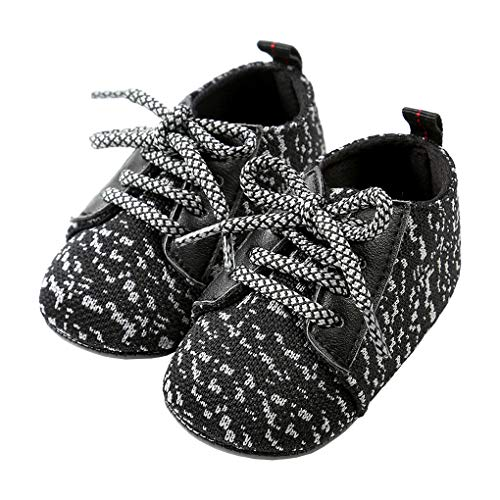 lakiolins Baby Boy Girl Slip-on Sock-Like Woven Sneakers Anti-Slip First Walkers Crib Shoe Black Size S (Socks Kids Woven)