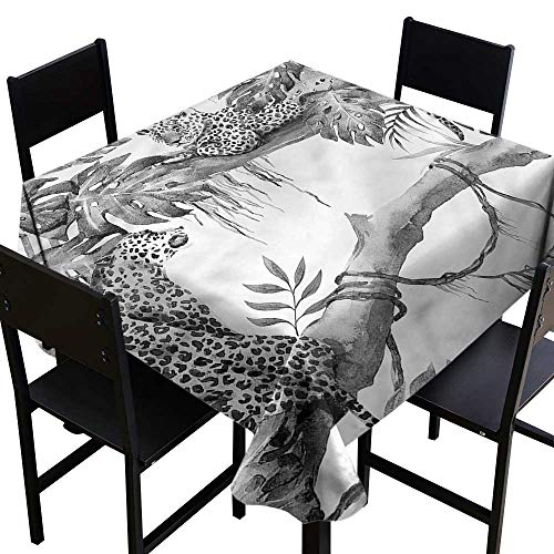 haommhome Waterproof Tablecloth Jungle Wild African Habitat Leopard Washable Tablecloth W54 xL54 Indoor Outdoor Camping Picnic