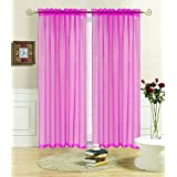 """Kashi Home Rena 55X84 Sheer Voile Panel Curtain, 55"""" x 84"""", Pink"""