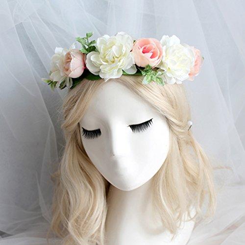 Charmly Handmade Bridal Flower Crown Flower Headband Bridal Flower Garland Bridesmaid Children Floral Headpiece Adjustable Ribbon for Wedding Festivals Party Cosplay