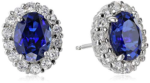 Sterling Silver Blue and White Created Sapphire Oval Earrings ()