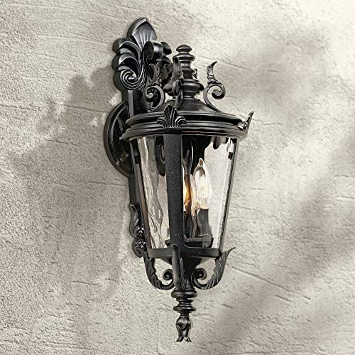 Casa Marseille Traditional Outdoor Wall Light Fixture Textured Black French 21 3/4″ Clear Hammered Gla
